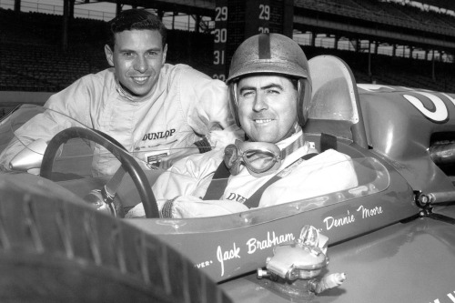 definemotorsports:  Clark and Brabham being cool.  Jimmy and Jack at the Brickyard. Beauty.