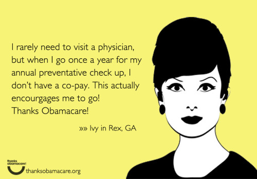 Ivy in Georgia is saying #ThanksObamacare because it covers her yearly preventative check-up without a co-pay.  Encouraging a healthy lifestyle is something we all can support.