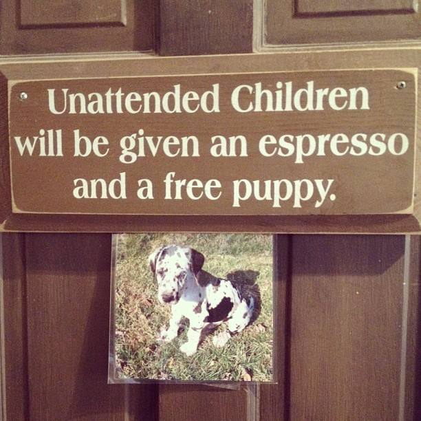 Keep tack of your kids! (Taken with Instagram at Aromas Coffeehouse Bakeshop & Cafe‎)