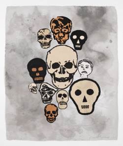 skylagallery:  Donald Baechler Crowd #5  2011 Woodblock and chine colle printed onto handmade cotton paper with linen pulp painting in various grays and muted colors 43 x 36 inches