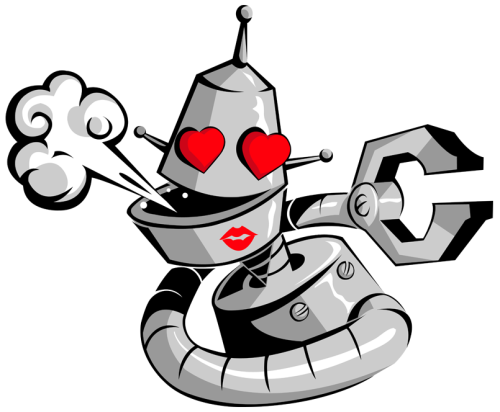 """Even Robots Need Love"" :)  Vector work, Adobe Illustrator."