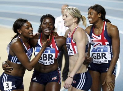 womenandsports:  Shana Cox, Christine Ohuruogu, Nicola Sanders and Perri Shakes-Drayton of Britain celebrate their gold medal at women's 4x400 meters final during the world indoor athletics championships at the Atakoy Athletics Arena in Istanbul March 11, 2012. (via Photo from Reuters Pictures)