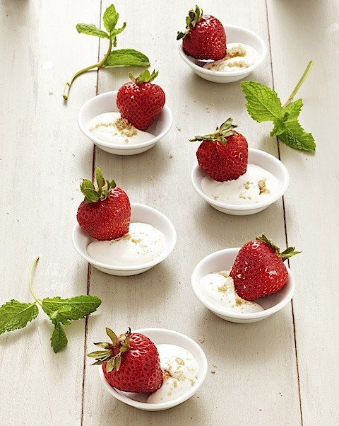 Strawberries with Whipped Sweet Cream  Simplicity is key with this tempting dessert