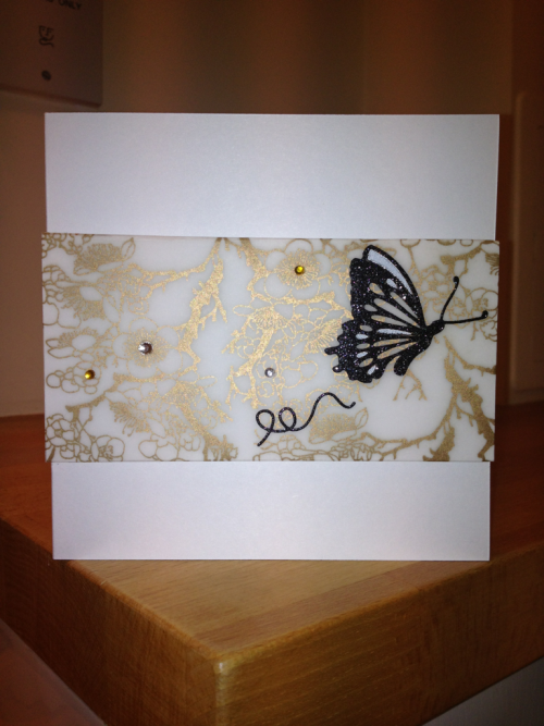 3D butterfly crystal card