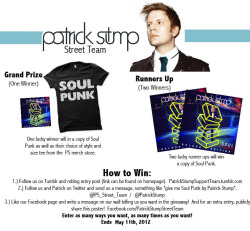 patrickstumpsupportteam:  patrickstumpsupportteam:  Extending the giveaway!   You can enter until tomorrow at 12 PM central time!  Winner will be announced May 12!   Less than thirty minutes!  Go!