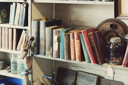 Antiques store? Genteel used stuff store? Old books and assorted old stuff (Mason jars, shoe stretchers, maybe a tea kettle).