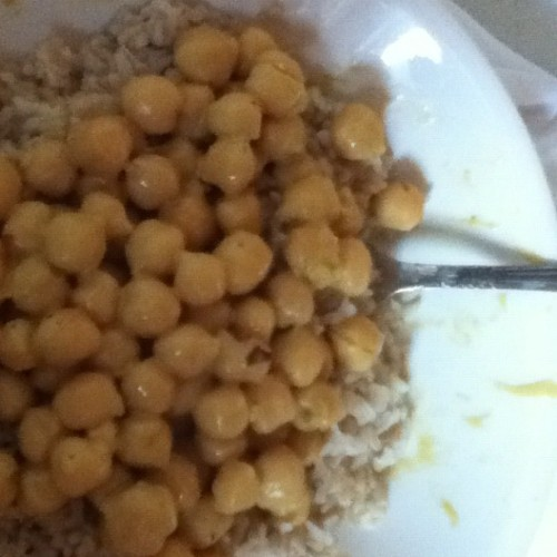 Chickpeas smothered in @happyherbivore quick queso .Lindsay,I do believe you've created #vegan awesome sauce (Taken with instagram)