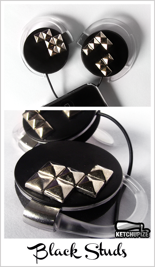 Studded headphones in black My latest design features shiny pyramid studs on hand painted black headphones. They're going to rock your world!More info/available at www.ketchupize.etsy.com