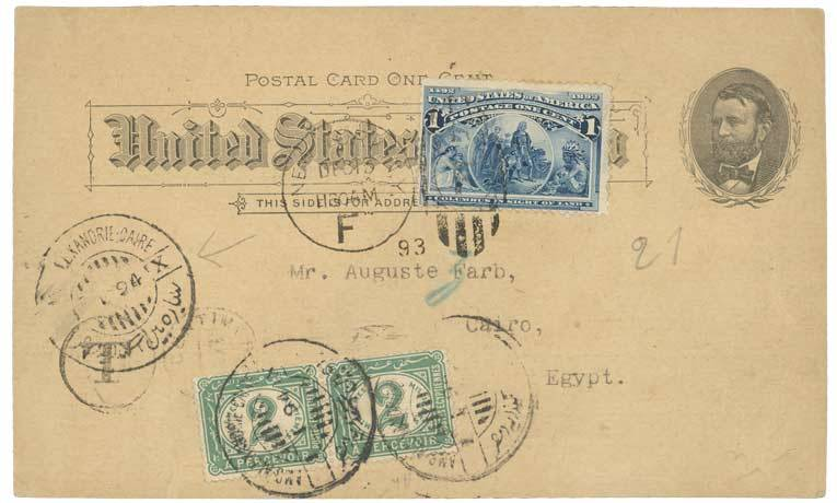 Austria 1894 USA P. /Stat und 1c canc. NEW-YORK to CAIRO taxed on arrival with 2m (x2) POSTAGE-DUE.