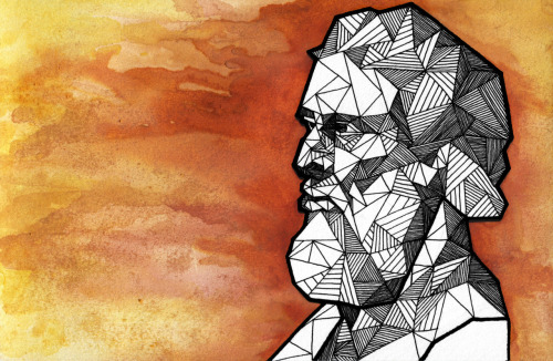 Geometric Portrait: PLATO - 324 - 328 BC Watercolor + Ink  //  Thinkers Series 2/6 //  Allison Kunath [ commission a custom geometric portrait ]
