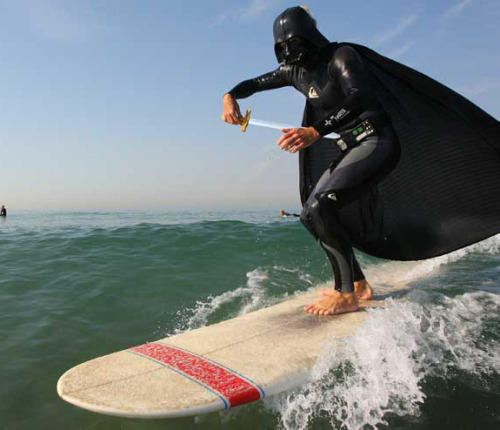 Darth Vader goes surfing