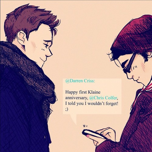 suitfer:  CrissColfer & Klaine in one drawing! (Taken with instagram)