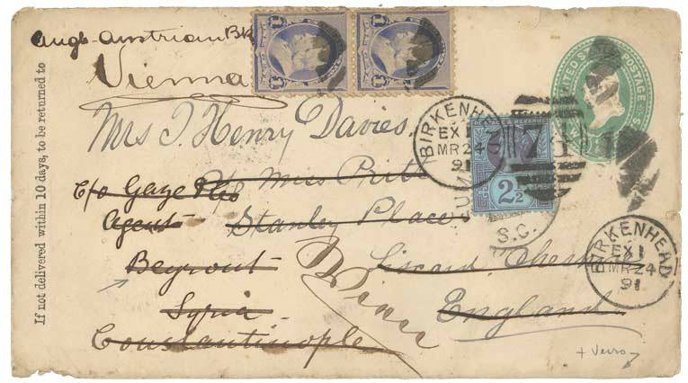 1891 P./Stat 2c 1c(x2) ENGLAND 2 1/2d on cover redirected to BEYROUTH(SYRIA). Vf.