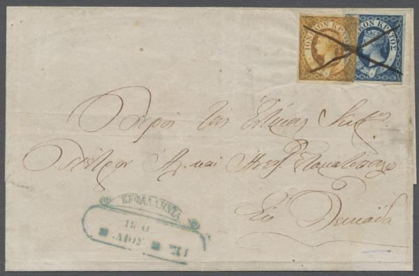 1859, folded letter cover. Kephalonia 15. May 1860 to Lefkas / Santa Maura 16. May 1860
