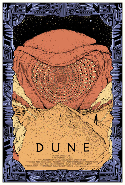 "Dune poster from Mondo.  I saw this poster, but opted for the ""War of the Worlds"" poster instead.  I thought looking down the maw of a worm would freak me out after a while.  bigredrobot:  dwdesign:   Limited edition DUNE poster made for Mondo. Currently exhibited together with a lot of sweet art at their new Gallery space in Austin/Texas which had a grand opening yesterday.   Spice must flow."