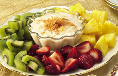 Fruit with Pina Colada Dip Recipe by Betty Crocker Recipes on Flickr. Via Flickr: INGREDIENTS: Dip 2 (6-oz.) containers Yoplait® Original 99% Fat Free French Vanilla Yogurt 1 teaspoon rum extract or dark rum 3 tablespoons flaked coconut, toasted 2 tablespoons finely chopped pineapple Fruit 15 fresh strawberries, halved 30 (1-inch) chunks fresh pineapple 30 chunks kiwi fruit (about 5 medium) DIRECTIONS: 1. In small bowl, combine yogurt, rum extract and 2 tablespoons of the coconut; blend well. Stir in pineapple. Serve immediately, or cover and refrigerate until serving time. 2. To serve, arrange fruit on serving platter. Sprinkle dip with remaining tablespoon toasted coconut. If desired, garnish with pineapple leaves. Store dip in refrigerator.