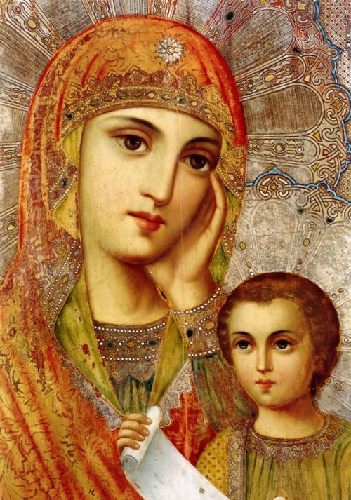 "simplyorthodox:  The beautiful Orthodox Icon of the Mother of God ""Assuage my sorrow"". This is a wonderworking icon. Copies of the ""Assuage my Sorrows"" Icon of the Most Holy Theotokos are to be found in churches of Moscow and other cities. The icon is commemorated on January 25, on September 25 and October 9."