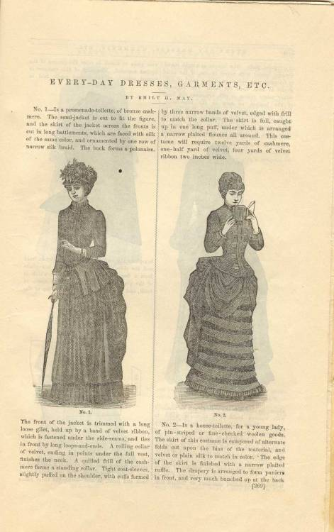 thedailyvictorian:  From Peterson's Magazine, 1883: Two day dresses with description.