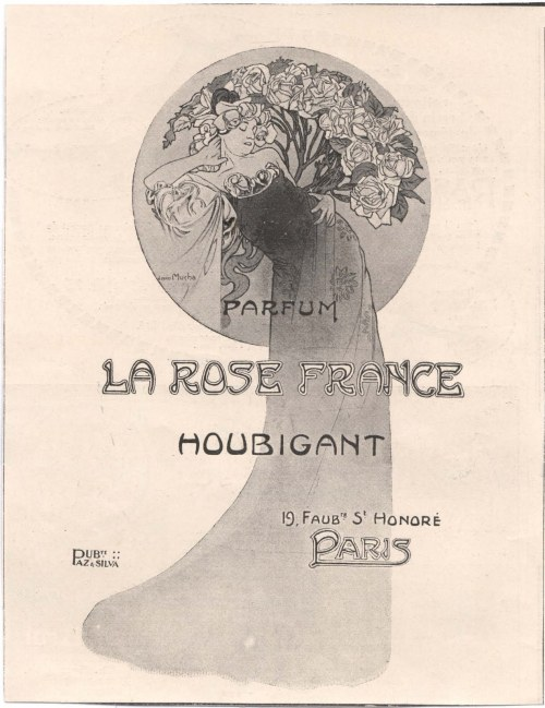 La Rose France, Houbigant ~ Alphonse Mucha, 1912.  via