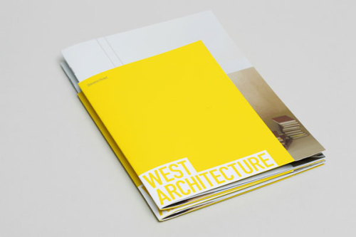 "Graphic Design Inspiration Brochure design by Morse Studio for West Architecture.  ""West architecture is a young, award-winning architecture practice based in London. Morse Studio was approached to create a brand identity including logotype, print collateral and website. The conceptual starting point for West's identity was 'defining space, rather than physical structure alone'. This concept was abstractly articulated by trapping the negative space surrounding the letterforms. The logotype's positioning is equally as important as the logotype itself, activating the page's irregular and geometric negative space. This trait continues through West's identity, influencing page layouts and even the reverse-folded brochure cover.""  via: MAG.WE AND THE COLORFacebook // Twitter // Google+ // Pinterest"