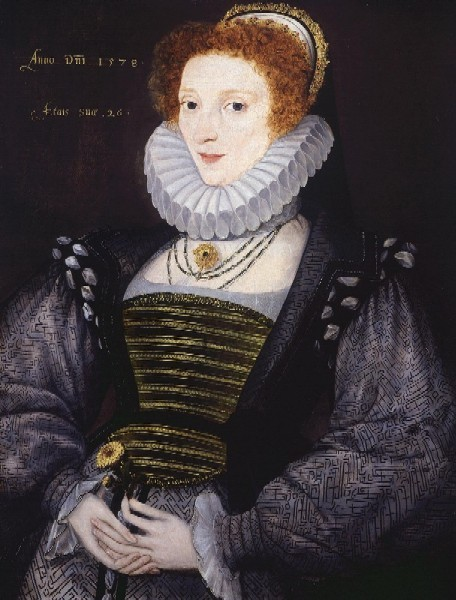 The unknown pregnant woman in this 1578 portrait (possibly by George Gower) has added a stomacher to fill the gap caused by her baby bump.