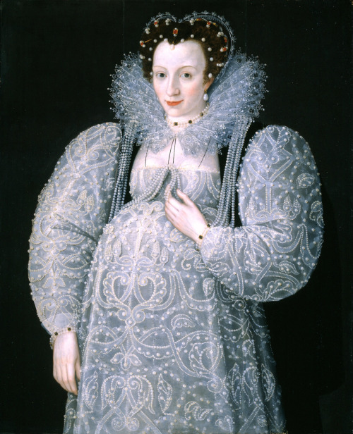 This gorgeous circa 1595 portrait of an unknown (but obviously wealthy) pregnant woman, which is most commonly attributed to Marcus Gheeraerts II, is without a doubt the most famous portrait of a pregnant woman ever painted. It is also one of the most beautiful and intriguing portraits I've ever seen.