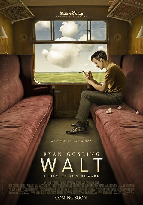 This isn't a real movie, but I wish it were: 'Walt', starring Ryan Gosling as Walt Disney Why has Disney never done a biopic of its legendary founder? Sounds like total Oscar bait to me. French art director Pascal Witaszek psyches the Internet with a massive tease of a teaser poster for a not-quite-real Walt Disney biopic starring Ryan Gosling. Via