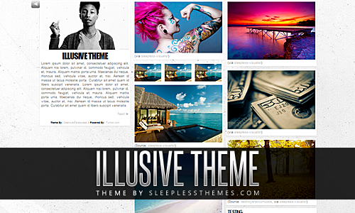 Illusive: Theme Code | Preview 3 column theme. Left side bar/2 columns of post with the masonry script & infinite scroll. You can change all of the colors to whatever you want, add custom links, upload portrait photo & upload a custom background. This theme also features a slide out navigation section next to your portrait/description area. You have the option to turn infinite scroll on or off. Enjoy. For more themes click here.
