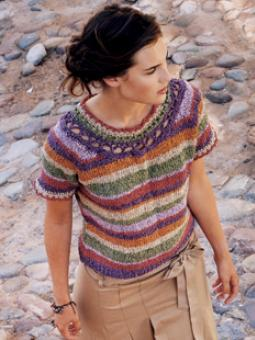 petrolblue:  Patterns I Like Made In Rowan Summer Tweed: Sunshine           Knit this ladies' pretty, short-sleeved, striped sweater with crocheted neck and cuff edging.        Details:   Designer:Marie Wallin Project Type:Women Project Subject:Knitting Recommended Products:Summer Tweed  This pattern is featured in the following:The Kasbah Collection          This is so cute!! But it could never replace my grandpa cardigan! Maybe something for Yoming? I think his birthday is coming up :)