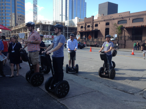 Photo: CNNMoney The GroupMe Segway posse is ready to rumble.