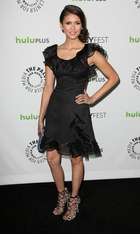 hollywood-fashion:  Nina Dobrev in Rachel Zoe at a Paleyfest event honoring The Vampire Diaries on March 10, 2012. Jimmy Choo heels.