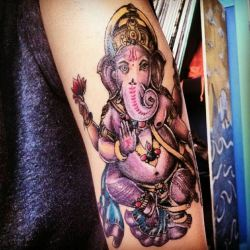 fuckyeahtattoos:  my ganesha, done by courtney raimondi at dakota ink tattoo, east islip, new york he is the overcomer of obstacles, sometimes i feel people forget that life is not full of just positive, suffering will never go away, it will always be here, you just learn to overcome it to see the greatness of life.