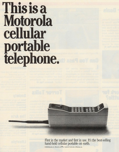 weirdvintage:  Motorola Portable Cellular Telephone, 1985