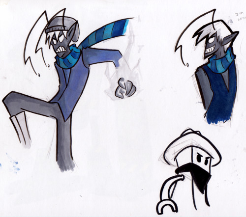 addyarts:  Playing with some markers. Static Face with two different kinds of marker technique as I learn how to use them properly. Maybe? idk. Also a failed undercover robot. He's a cowboy robot. Maybe they're rivals.
