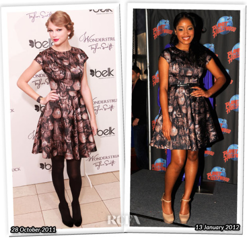 Who Wore Ted Baker Better? Taylor Swift or Keke Palmer? Click here to answer the question (poll)  (right click to open new tab if you can open a new one)