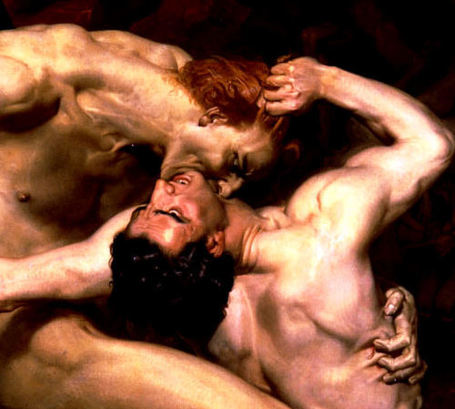 iheartmyart:  Dante and Virgil in Hell (detail) William Adolphe Bouguereau (1850)