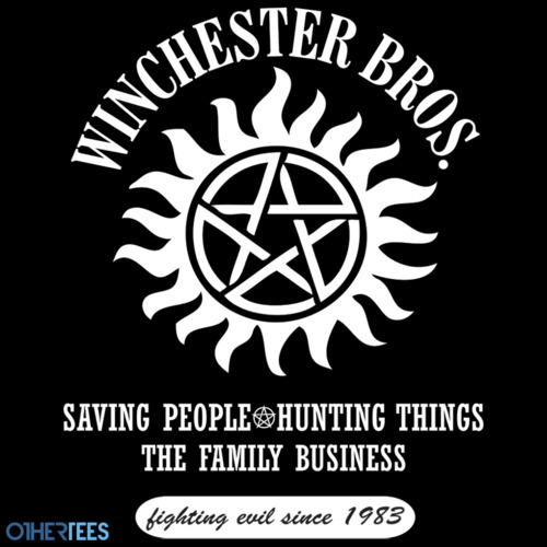 My Winchester Bros. tee is on sale until March 13th at Othertees. It's available in four colours - red, black, blue and brown. And we're having a contest! Re-blog this for a chance to win a Winchester Bros. sticker. Five winners will be chosen. Thanks!