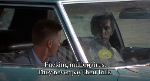 """Fucking millionaires. They never pay their bills."" Wow, that's not topical now, is it? Repo Man (1984) directed by Alex Cox, starring Emilio Estevez and Harry Dean Stanton. Also starring Tracey Walter, Olivia Barash, Sy Richardson, Susan Barnes, Fox Harris, Tom Finnegan,  Del Zamora, Eddie Velez, Zander Schloss, Jennifer Balgobin, Dick Rude, Miguel Sandoval, Vonetta McGee, Richard Foronjy, the Circle Jerks and Samuel T. Cohen, inventor of the neutron bomb"
