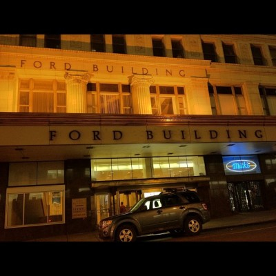A Ford in front of the #ford. #architecture #history #car #detroit #downtown #popularpage #comeback (Taken with instagram)