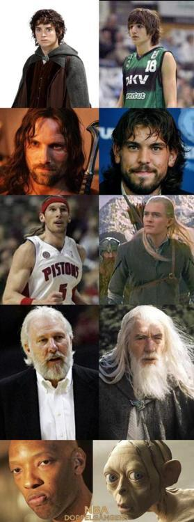nbadoppelgangers:  Sunday night Lord of the Rings special: Ricky Rubio and FrodoMarc Gasol and AragornWalter Herrmann and Legolas Gregg Popovich and GandolfSam Cassel and Gollum Source: wifeofadocstar