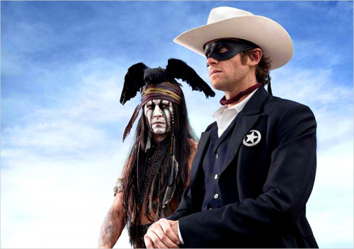 "Johnny Depp as Tonto, Army Hammer as ""The Lone Ranger"" in the new upcoming movie of the same name, now in production. As featured on our latest show, we ask — ""What's with the Crow?"", and even give it a name!  Check out Show # 52 www.mrmovienews.com"
