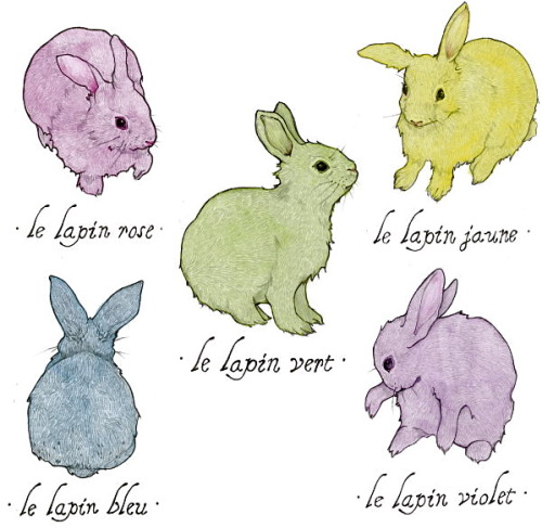 "Lapins Colorés Lapins Colorés, graphite & watercolor on Rives BFK, each 5.5 x 8.5"", 2012. For an archival print set in my Etsy store Blogged about here"