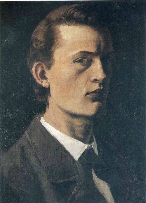 Artist: Edvard Munch, 1882 self-portrait.