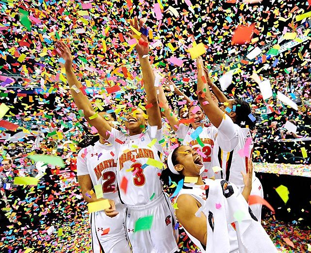 Maryland players celebrate after beating Georgia Tech 68-65 to win the ACC Women's Basketball Tournament championship game on Sunday in Greensboro, North Carolina. (Photo by Grant Halverson) (via SI.com)