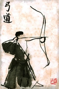 The art of Kyudo is practiced commonly as a meditation in action. It is taught that the act of drawing and releasing the bow is an extension of your will. From this you are able to guide your intent to your target. This then seeps into your life and you are able to guide your intent to any target.I've got my target sighted and my bow drawn, do you?