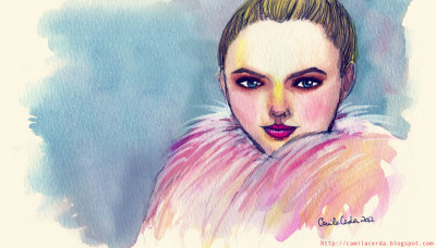 *Cotton Candy* Portrait of Kristina Bazan (Kayture) Watercolor, ink, digital edition