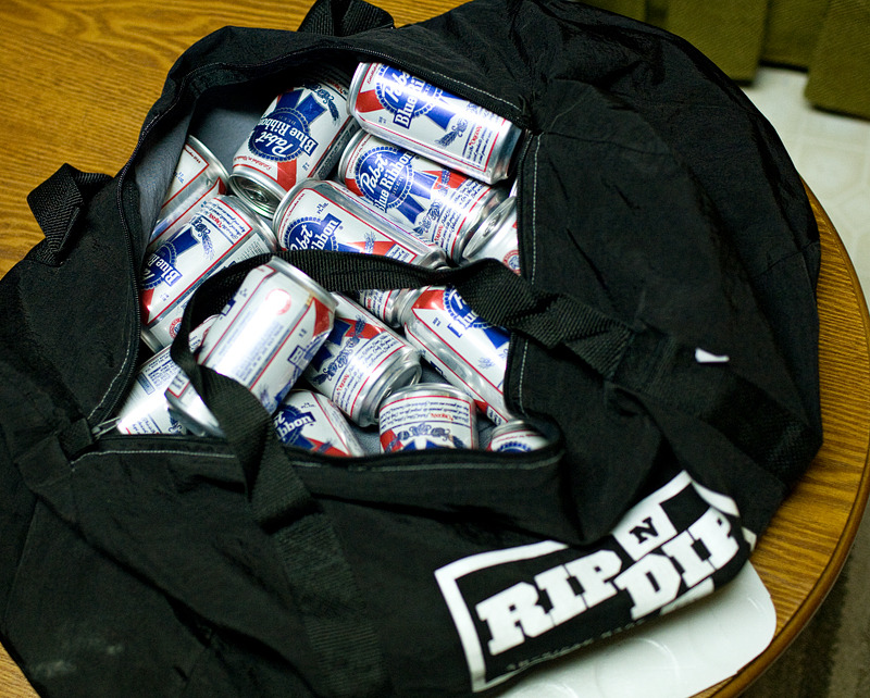 Rip N Dip provided the beer bag.  www.ripndipclothing.com
