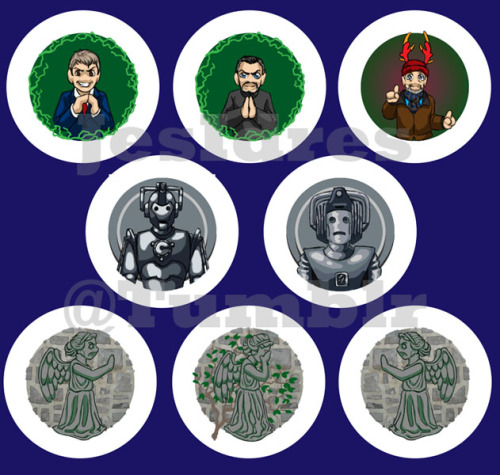 More Doctor Who buttons! Every other person demanded a Wilf button, and the weeping angels are also a common request- I made three different versions- weeping, and ending buttons so you can make sure the angels have the phone box- or anything else on your bag! I also wanted to make sure that both Old School and New School got their villians of choice. Remember, in addition to being available at Anime Boston, you can also purchase our buttons through Button Me Up Button's etsy store!