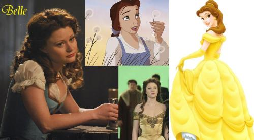 "Belle's Story in Once Upon a Time takes a lot of information from the Disney version that wasn't in the original fairy tale. First is obviously the clothes. Secondly, is her name and the mere fact that Gaston even exsists since her name was Beauty (even though Belle is French for Beauty) in the original, nor did she have a suitor (especially one named Gaston). Here and in Disney's version, she is an only child, where as in the original she is one of three. Also, there was a moment where she drops ""the beast's"" tea cup, breaks it, and says it's only a little ""chip"", which would be the name of the little boy tea cup in Disney's Beauty and the Beast. In the original, the workers within the castle were not under the curse with the prince, only the prince himself. Everything shown about Belle after she meets and transforms the monster is all Disney's and ABC's interpretation as to how Belle would react to certain situations since none have been interpreted within the original story."