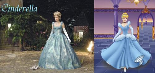 There isn't much comparison in Once Upon a Time and Disney because Once Upon a Time never went too far into Cinderella's back story like they did with other characters. You can't compare the fairy godmothers because Rumpelstiltskin kills the one she has in Once Upon a Time, but the whimsical made up words he says to add to the effect of changing her clothes pretty much adds up to that nonsense of a song the fairy godmother sings in the Disney version. Also, you have the obvious of the color of the dress, the heart design on the glass slippers, the hair style, and the long gloves. Most of Cinderella's story is after she already marries the prince in Once Upon a Time, so a lot of it is taken from other fairy tales, or just plain made up.